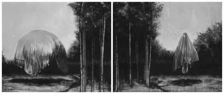S/T, 2015 Graphite on Canvas 200 x 240 cm (Dyptich)